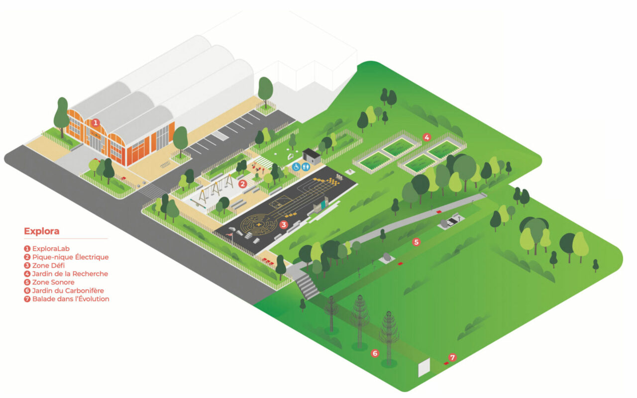 Illustration - Plan du parc d'Explora